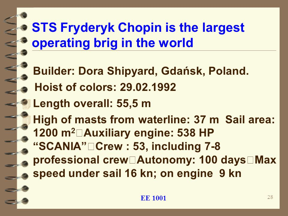STS Fryderyk Chopin is the largest operating brig in the world Builder: Dora Shipyard, Gdańsk, Poland.