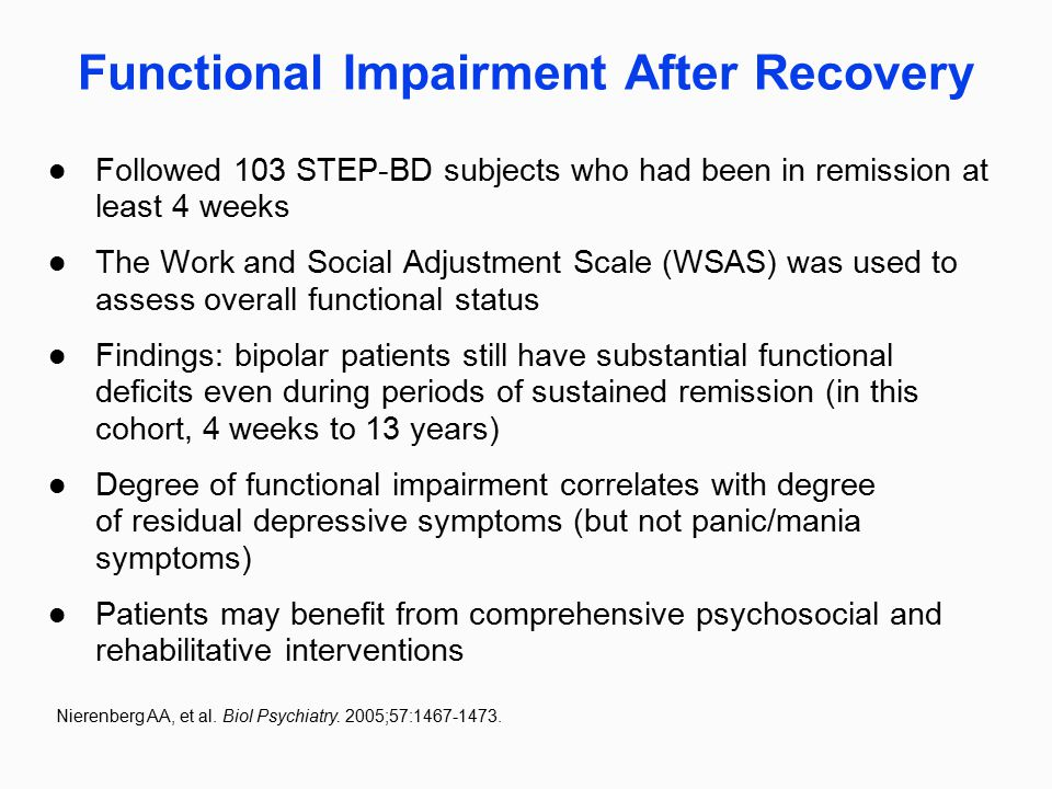 Functional Impairment After Recovery Followed 103 STEP-BD subjects who had been in remission at least 4 weeks The Work and Social Adjustment Scale (WS