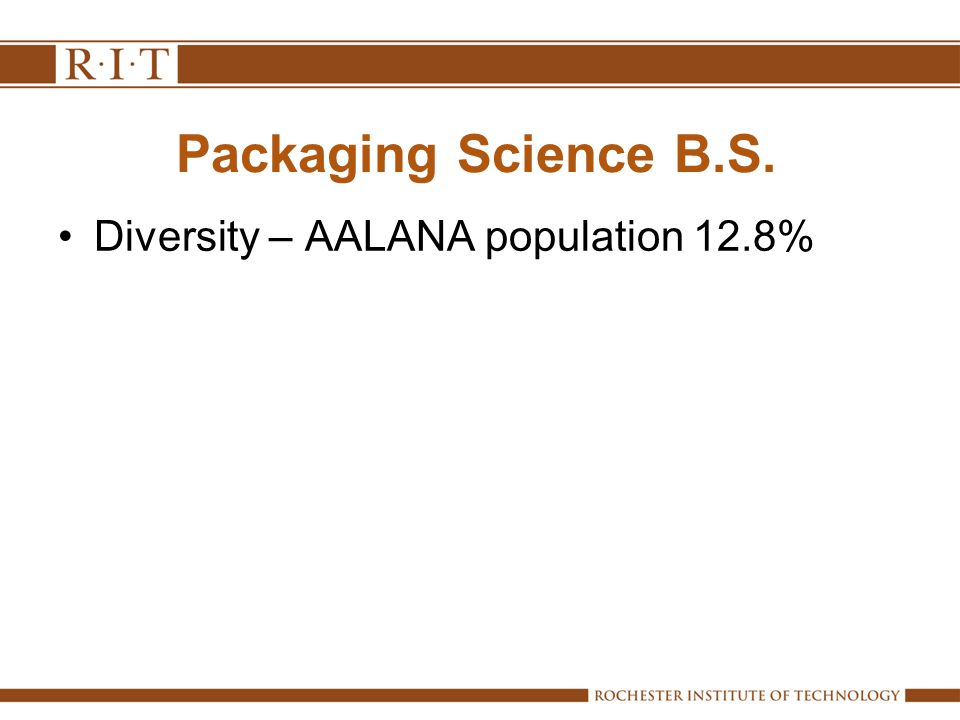 Packaging Science B.S. Diversity – AALANA population 12.8%