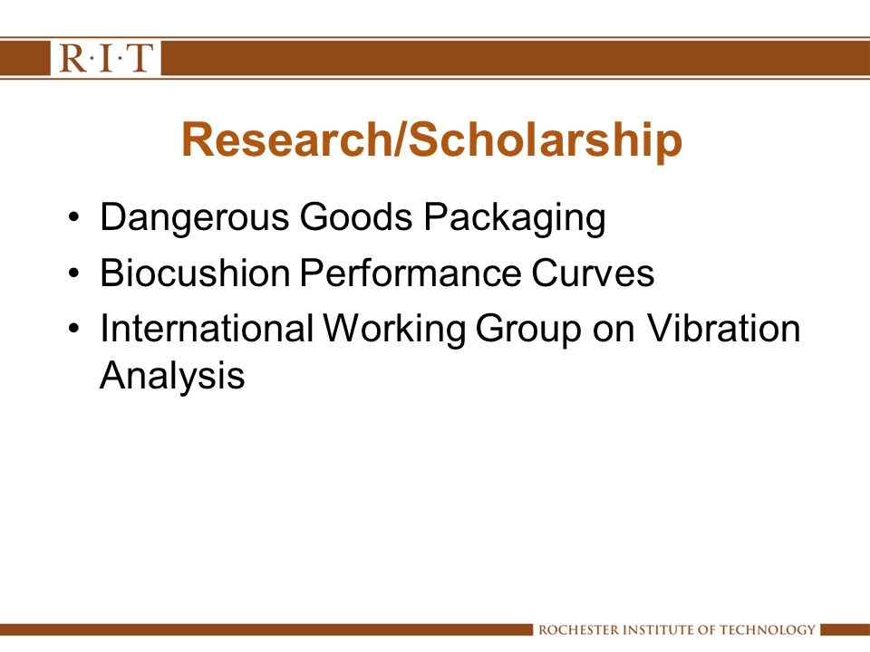 Research/Scholarship Dangerous Goods Packaging Biocushion Performance Curves International Working Group on Vibration Analysis