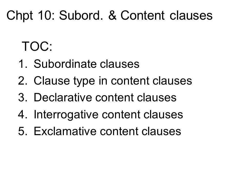 Chpt 10: Subord.