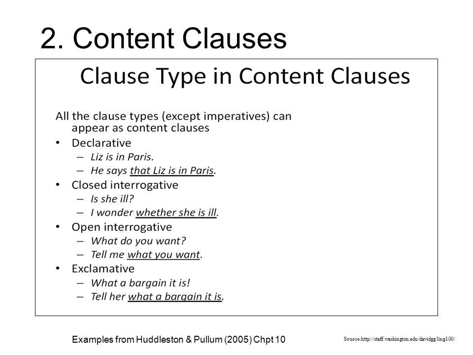 2. Content Clauses Source:http://staff.washington.edu/davidgg/ling100/ Examples from Huddleston & Pullum (2005) Chpt 10
