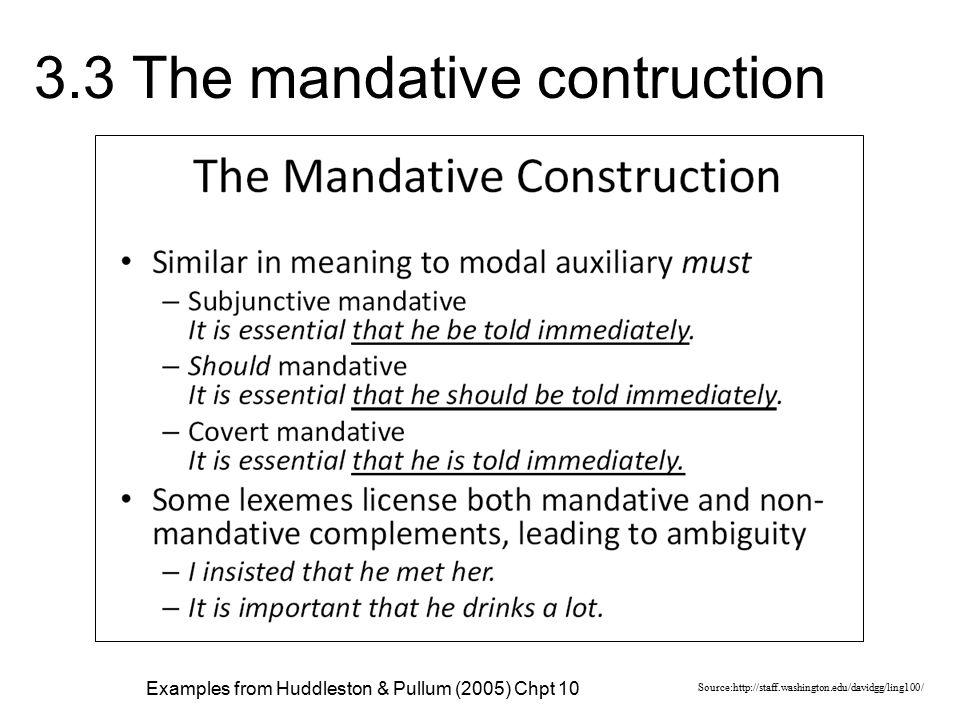 3.3 The mandative contruction Source:http://staff.washington.edu/davidgg/ling100/ Examples from Huddleston & Pullum (2005) Chpt 10