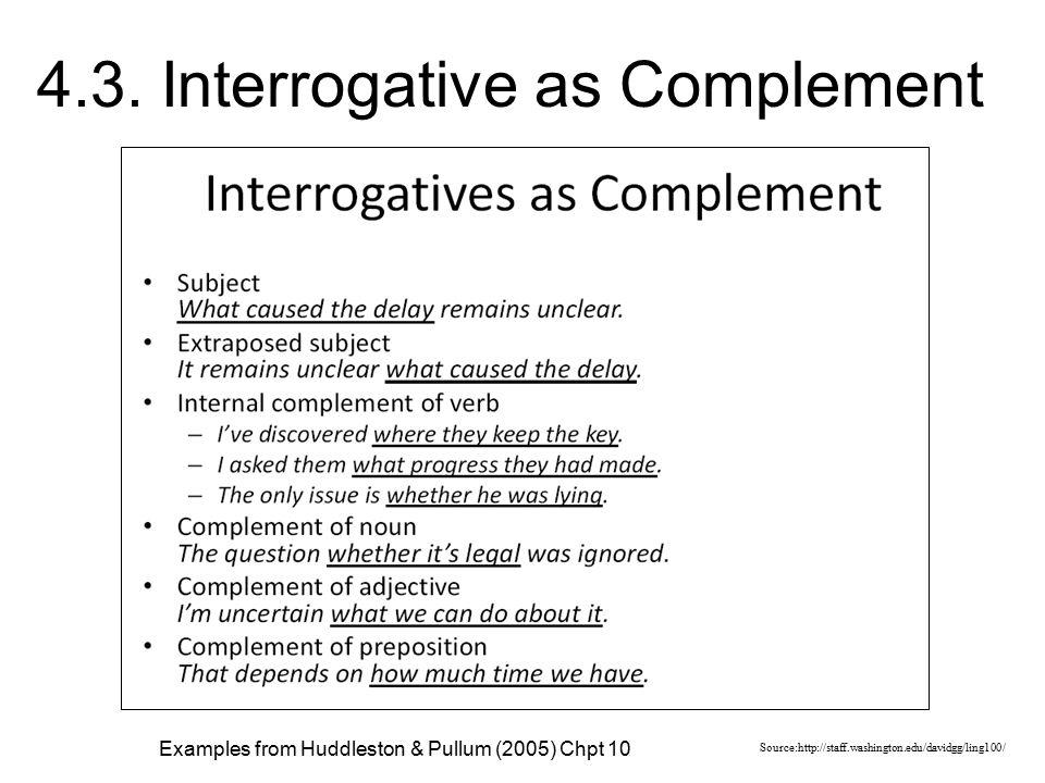 4.3. Interrogative as Complement Source:http://staff.washington.edu/davidgg/ling100/ Examples from Huddleston & Pullum (2005) Chpt 10