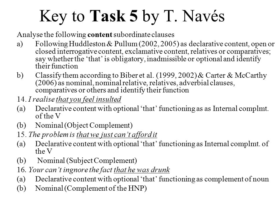 Key to Task 5 by T.