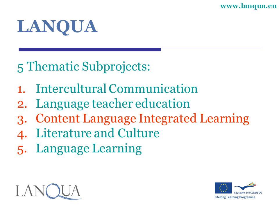www.lanqua.eu LANQUA 5 Thematic Subprojects: 1.Intercultural Communication 2.Language teacher education 3.Content Language Integrated Learning 4.Literature and Culture 5.Language Learning