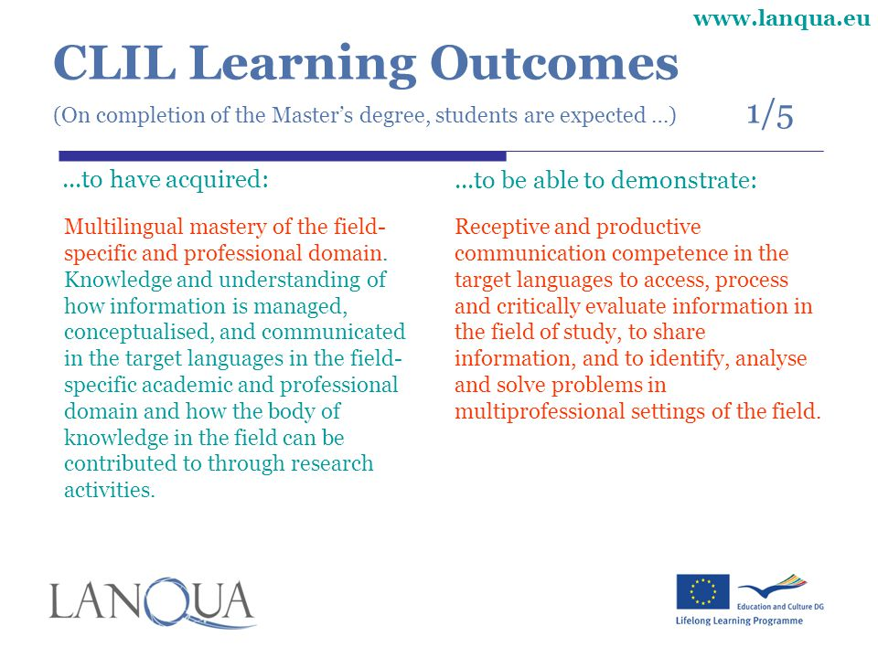 www.lanqua.eu CLIL Learning Outcomes (On completion of the Master's degree, students are expected …) 1/5...to have acquired: Multilingual mastery of the field- specific and professional domain.