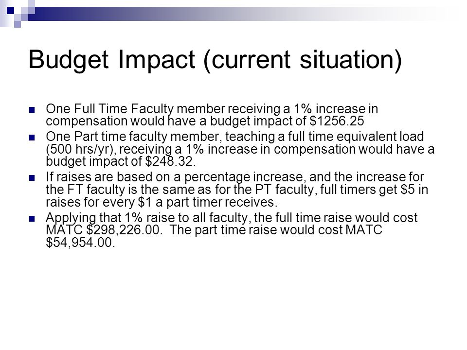 Budget Impact (current situation) One Full Time Faculty member receiving a 1% increase in compensation would have a budget impact of $1256.25 One Part time faculty member, teaching a full time equivalent load (500 hrs/yr), receiving a 1% increase in compensation would have a budget impact of $248.32.