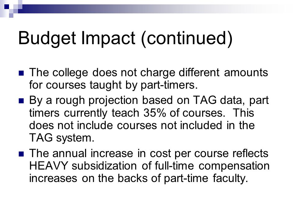 Budget Impact (continued) The college does not charge different amounts for courses taught by part-timers.