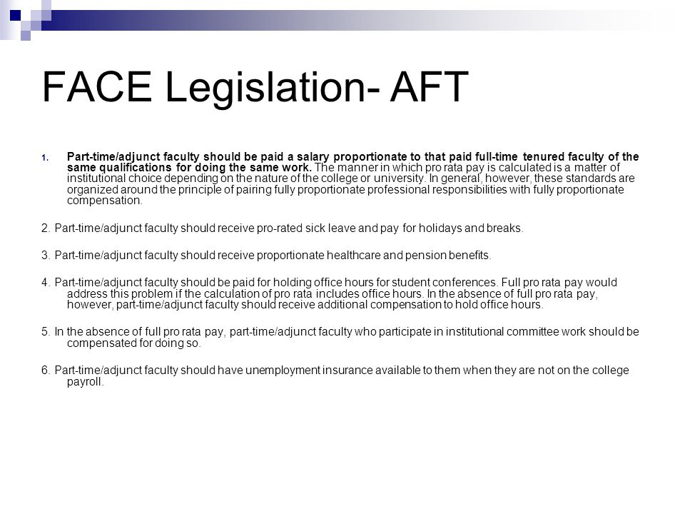 FACE Legislation- AFT 1.