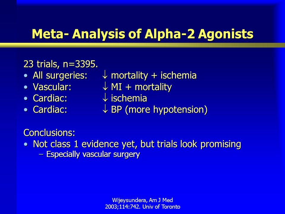 Wijeysundera, Am J Med 2003;114:742. Univ of Toronto Meta- Analysis of Alpha-2 Agonists 23 trials, n=3395. All surgeries:  mortality + ischemiaAll su