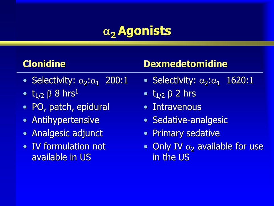  2 Agonists Clonidine Selectivity:  2 :  1 200:1Selectivity:  2 :  1 200:1 t 1/2  8 hrs 1t 1/2  8 hrs 1 PO, patch, epiduralPO, patch, epidural