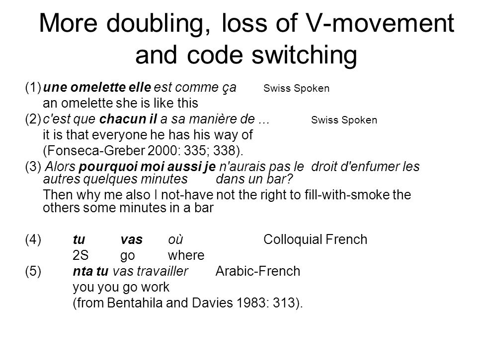 More doubling, loss of V-movement and code switching (1)une omelette elle est comme ça Swiss Spoken an omelette she is like this (2)c'est que chacun i