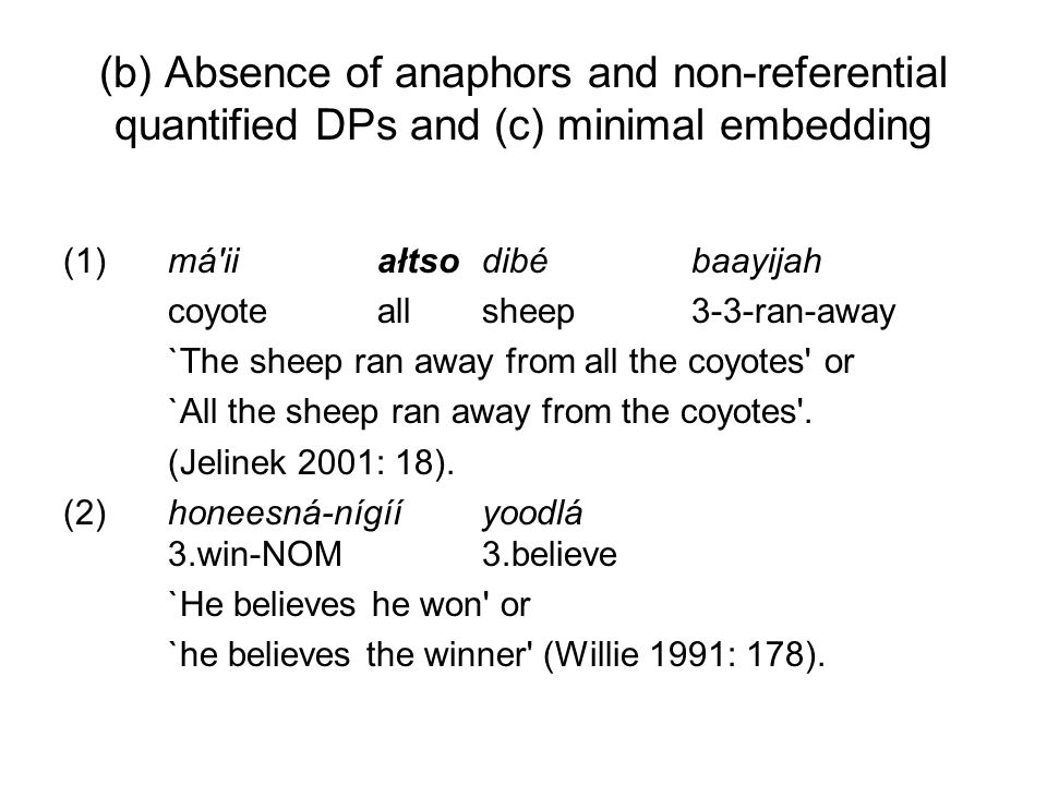 (b) Absence of anaphors and non-referential quantified DPs and (c) minimal embedding (1)má'iiałtso dibé baayijah coyoteallsheep3-3-ran-away `The sheep