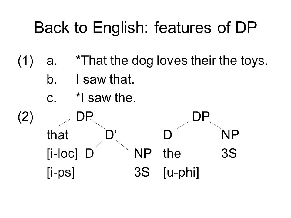 Back to English: features of DP (1)a.*That the dog loves their the toys. b.I saw that. c.*I saw the. (2)DPDP thatD'DNP [i-loc] DNPthe3S [i-ps]3S[u-phi