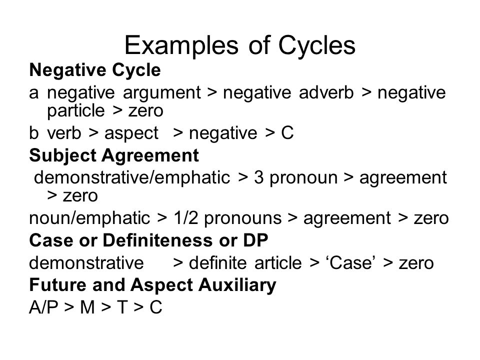 Examples of Cycles Negative Cycle a negative argument > negative adverb > negative particle > zero b verb > aspect> negative > C Subject Agreement dem