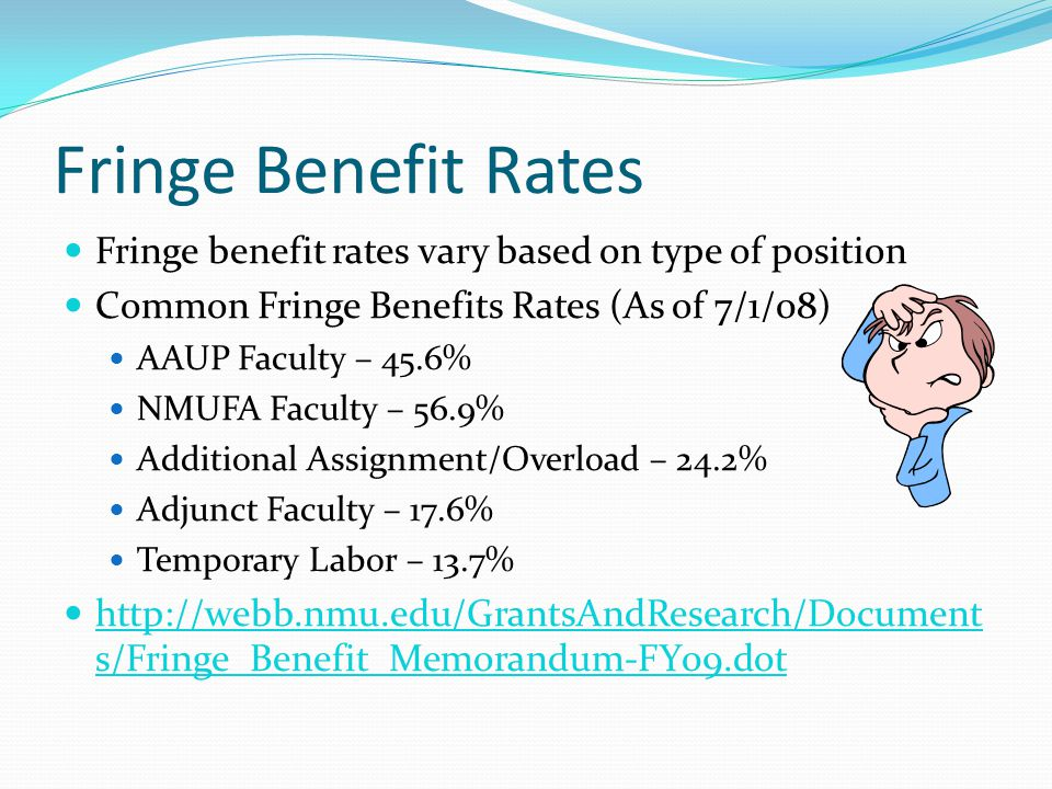 Fringe Benefit Rates Fringe benefit rates vary based on type of position Common Fringe Benefits Rates (As of 7/1/08) AAUP Faculty – 45.6% NMUFA Faculty – 56.9% Additional Assignment/Overload – 24.2% Adjunct Faculty – 17.6% Temporary Labor – 13.7% http://webb.nmu.edu/GrantsAndResearch/Document s/Fringe_Benefit_Memorandum-FY09.dot http://webb.nmu.edu/GrantsAndResearch/Document s/Fringe_Benefit_Memorandum-FY09.dot