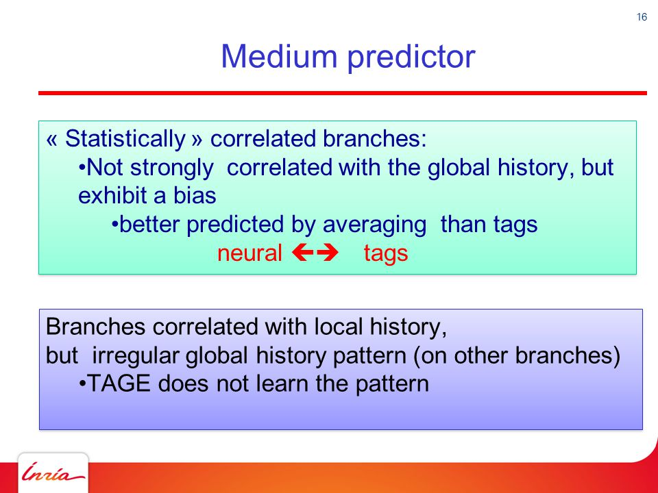 16 Medium predictor « Statistically » correlated branches: Not strongly correlated with the global history, but exhibit a bias better predicted by ave
