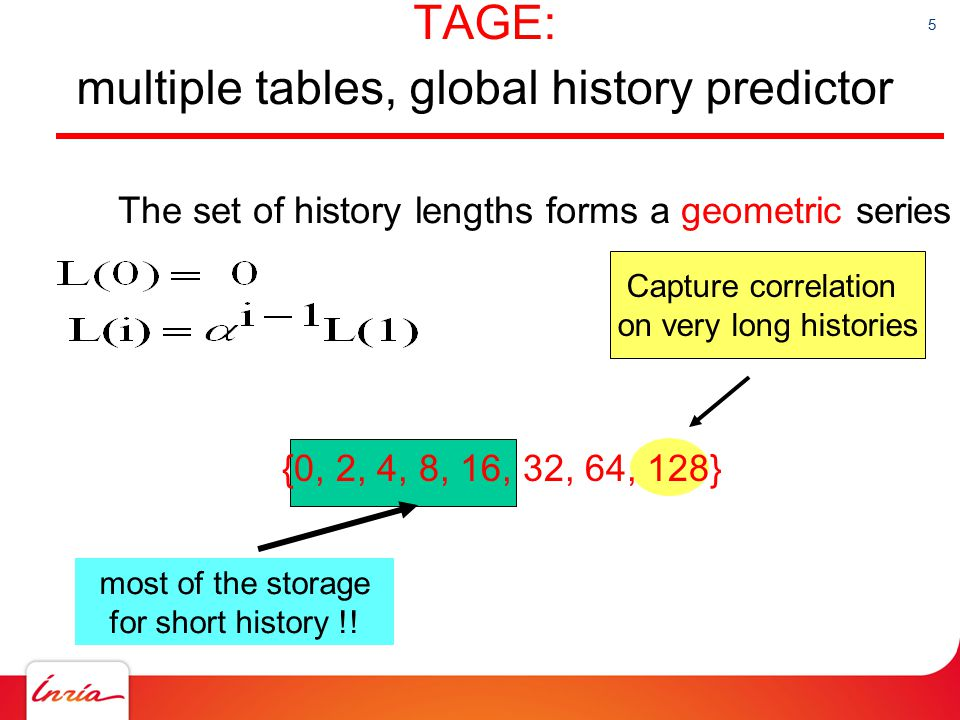 16 Medium predictor « Statistically » correlated branches: Not strongly correlated with the global history, but exhibit a bias better predicted by averaging than tags neural  tags « Statistically » correlated branches: Not strongly correlated with the global history, but exhibit a bias better predicted by averaging than tags neural  tags Branches correlated with local history, but irregular global history pattern (on other branches) TAGE does not learn the pattern Branches correlated with local history, but irregular global history pattern (on other branches) TAGE does not learn the pattern