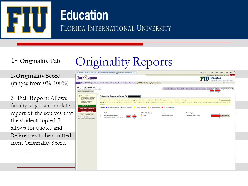 Originality Reports 1 3 1- Originality Tab 2-Originality Score (ranges from 0%-100%) 3- Full Report: Allows faculty to get a complete report of the sources that the student copied.