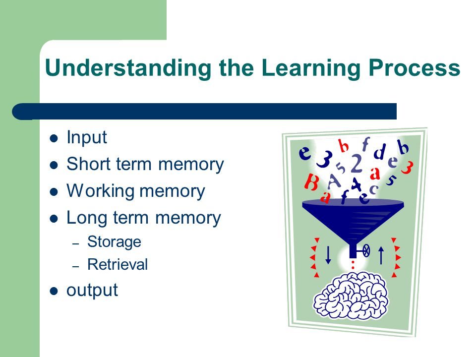 Understanding the Learning Process Input Short term memory Working memory Long term memory – Storage – Retrieval output