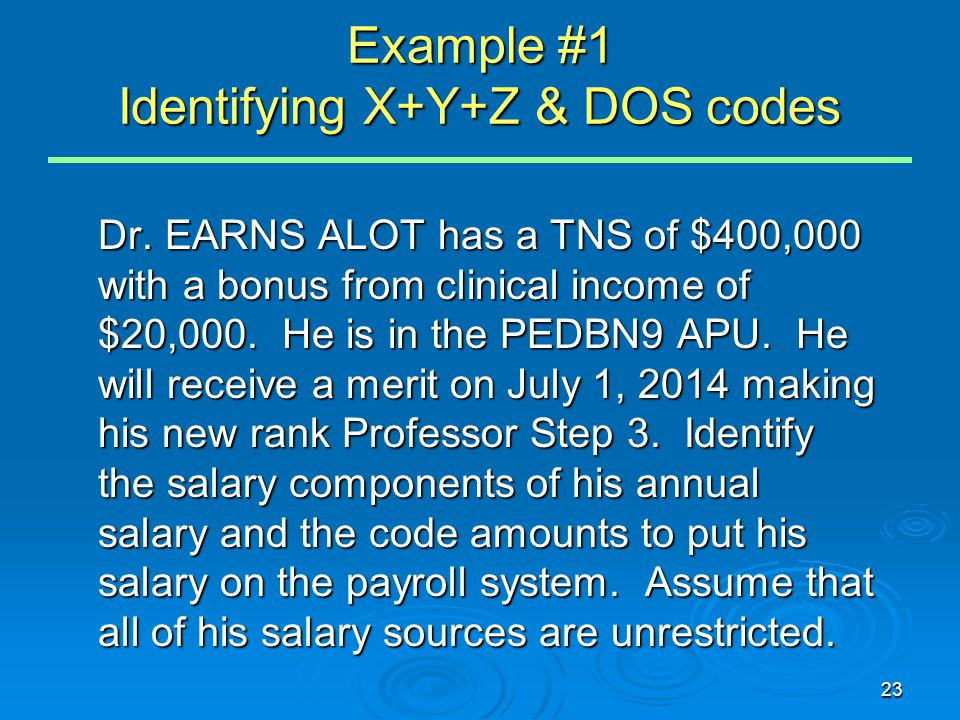 23 Example #1 Identifying X+Y+Z & DOS codes Dr.