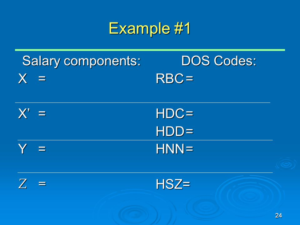 24 Example #1 Salary components: X= X'= Y= Z= DOS Codes: RBC= HDC= HDD= HNN= HSZ=