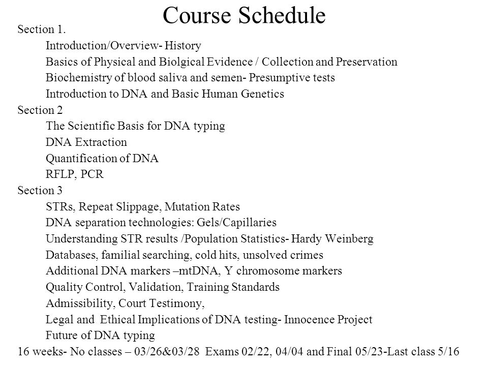 Course Schedule Section 1.