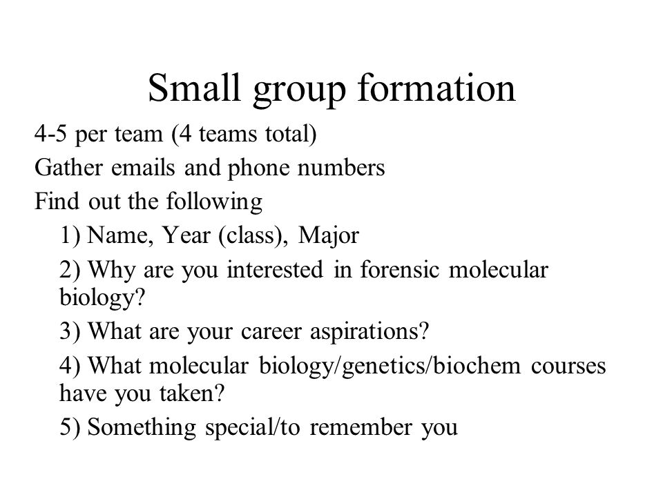 Small group formation 4-5 per team (4 teams total) Gather emails and phone numbers Find out the following 1) Name, Year (class), Major 2) Why are you interested in forensic molecular biology.