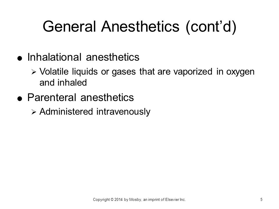  Local anesthetics are used for:  Surgical, dental, and diagnostic procedures  Treatment of certain types of chronic pain  Spinal anesthesia: to control pain during surgical procedures and childbirth  Local anesthetics are given by:  Infiltration anesthesia  Nerve block anesthesia Indications 26Copyright © 2014 by Mosby, an imprint of Elsevier Inc.
