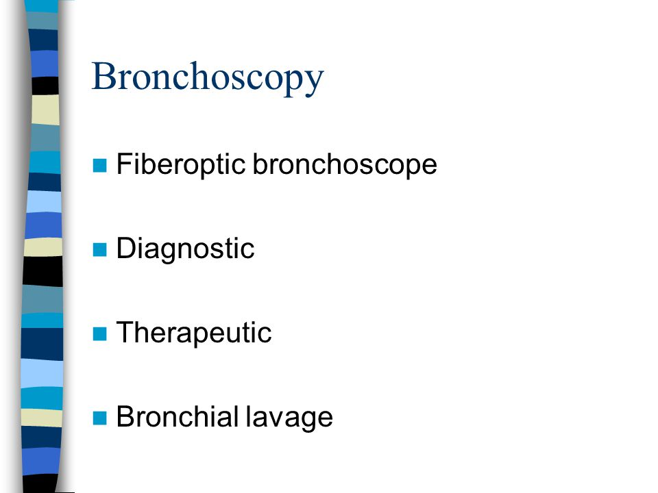 Bronchoscopy Fiberoptic bronchoscope Diagnostic Therapeutic Bronchial lavage