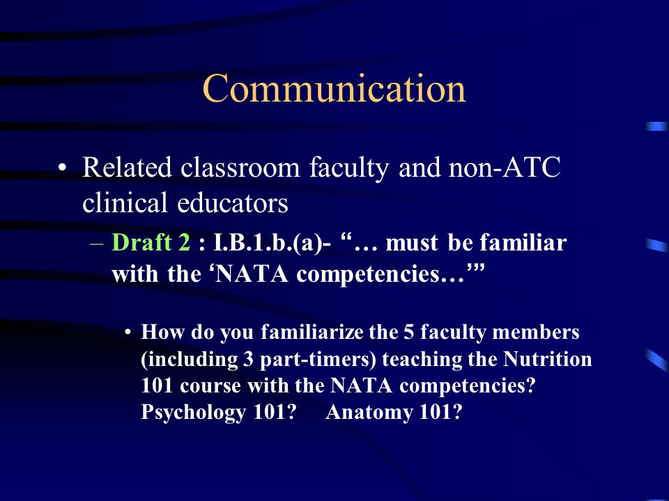 "Communication Related classroom faculty and non-ATC clinical educators –Draft 2 : I.B.1.b.(a)- "" … must be familiar with the ' NATA competencies… '"" H"