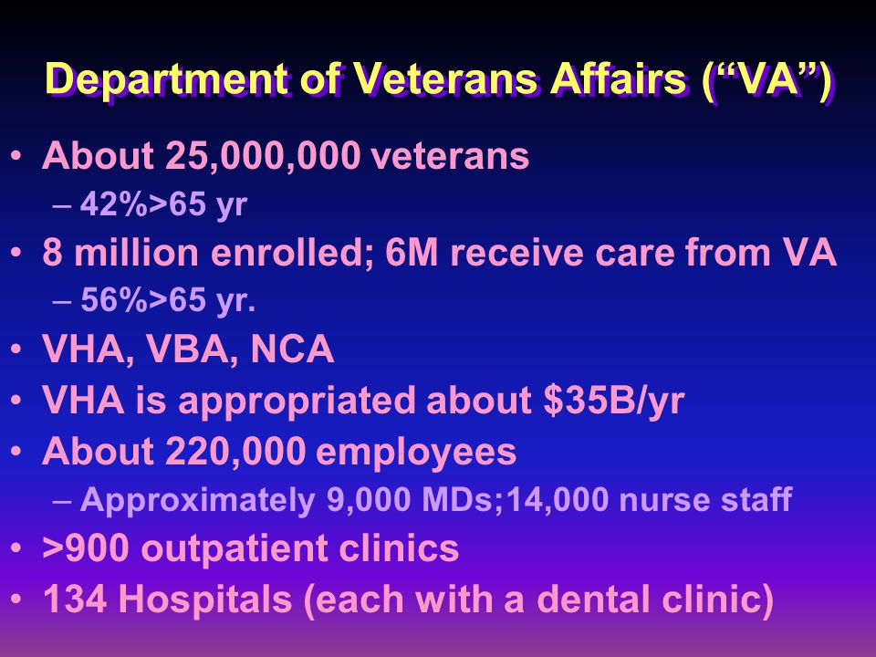 Department of Veterans Affairs ( VA ) About 25,000,000 veterans –42%>65 yr 8 million enrolled; 6M receive care from VA –56%>65 yr.