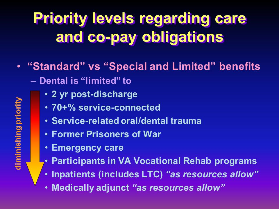 Priority levels regarding care and co-pay obligations Standard vs Special and Limited benefits –Dental is limited to 2 yr post-discharge 70+% service-connected Service-related oral/dental trauma Former Prisoners of War Emergency care Participants in VA Vocational Rehab programs Inpatients (includes LTC) as resources allow Medically adjunct as resources allow diminishing priority