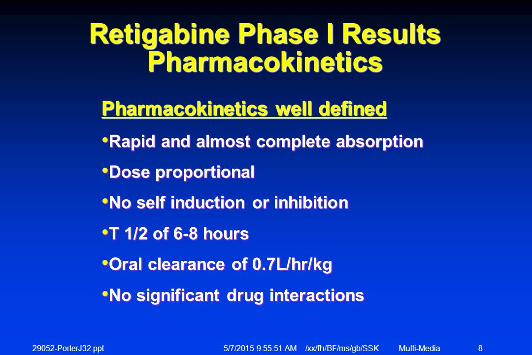 29052-PorterJ32.ppt 5/7/2015 9:56:12 AM /xx/fh/BF/ms/gb/SSKMulti-Media 8 Retigabine Phase I Results Pharmacokinetics Pharmacokinetics well defined Rapid and almost complete absorption Rapid and almost complete absorption Dose proportional Dose proportional No self induction or inhibition No self induction or inhibition T 1/2 of 6-8 hours T 1/2 of 6-8 hours Oral clearance of 0.7L/hr/kg Oral clearance of 0.7L/hr/kg No significant drug interactions No significant drug interactions