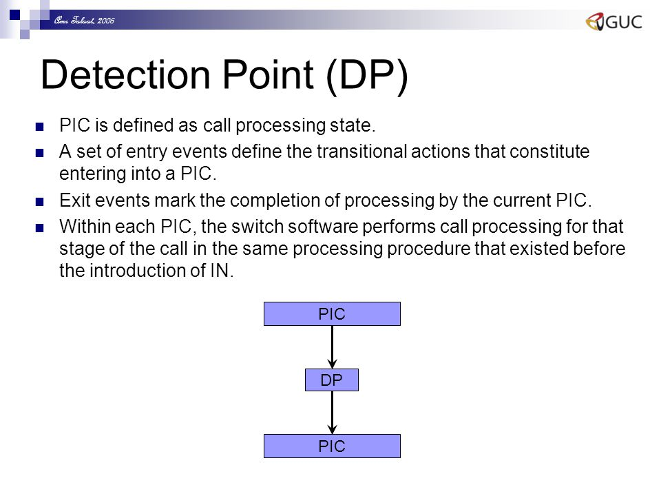 Amr Talaat, 2006 Detection Point (DP) PIC is defined as call processing state. A set of entry events define the transitional actions that constitute e