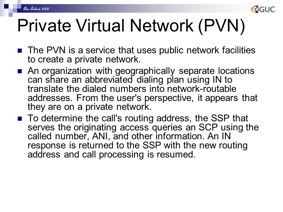 Amr Talaat, 2006 Private Virtual Network (PVN) The PVN is a service that uses public network facilities to create a private network. An organization w