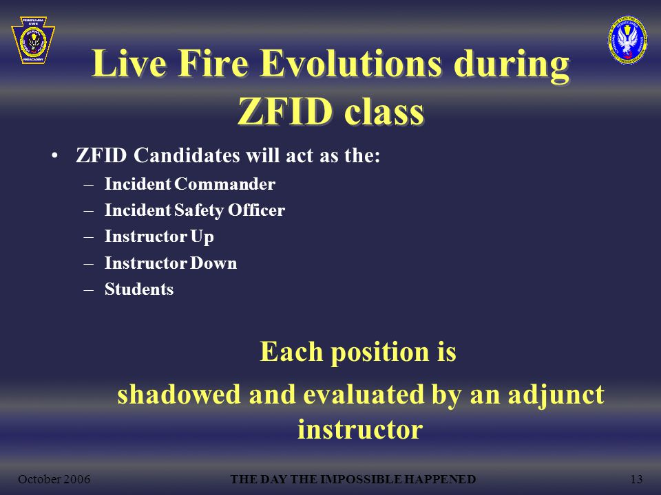 October 2006THE DAY THE IMPOSSIBLE HAPPENED13 Live Fire Evolutions during ZFID class ZFID Candidates will act as the: –Incident Commander –Incident Safety Officer –Instructor Up –Instructor Down –Students Each position is shadowed and evaluated by an adjunct instructor