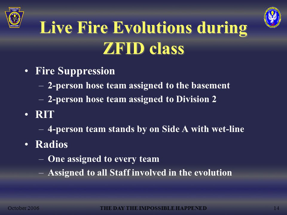 October 2006THE DAY THE IMPOSSIBLE HAPPENED14 Live Fire Evolutions during ZFID class Fire Suppression –2-person hose team assigned to the basement –2-person hose team assigned to Division 2 RIT –4-person team stands by on Side A with wet-line Radios –One assigned to every team –Assigned to all Staff involved in the evolution