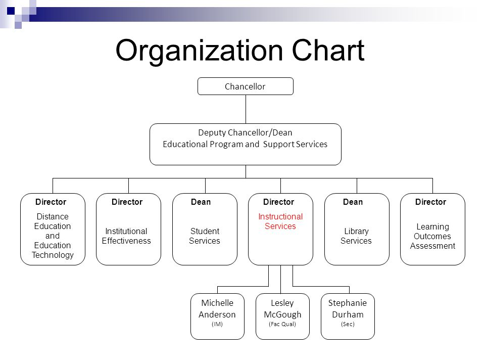 Organization Chart Chancellor Deputy Chancellor/Dean Educational Program and Support Services Michelle Anderson (IM) Lesley McGough (Fac Qual) Stephan