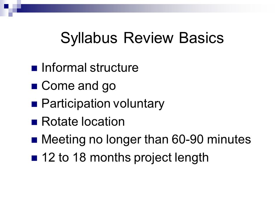 Master Syllabus What is it?