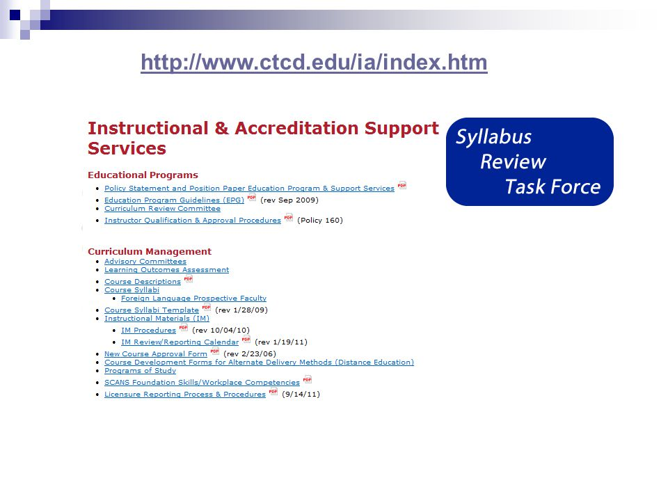 Syllabus Users Faculty/Adjunct Student Other institutions (transfer) Administration Regulatory Agencies  THECB/SACS  HB 2504