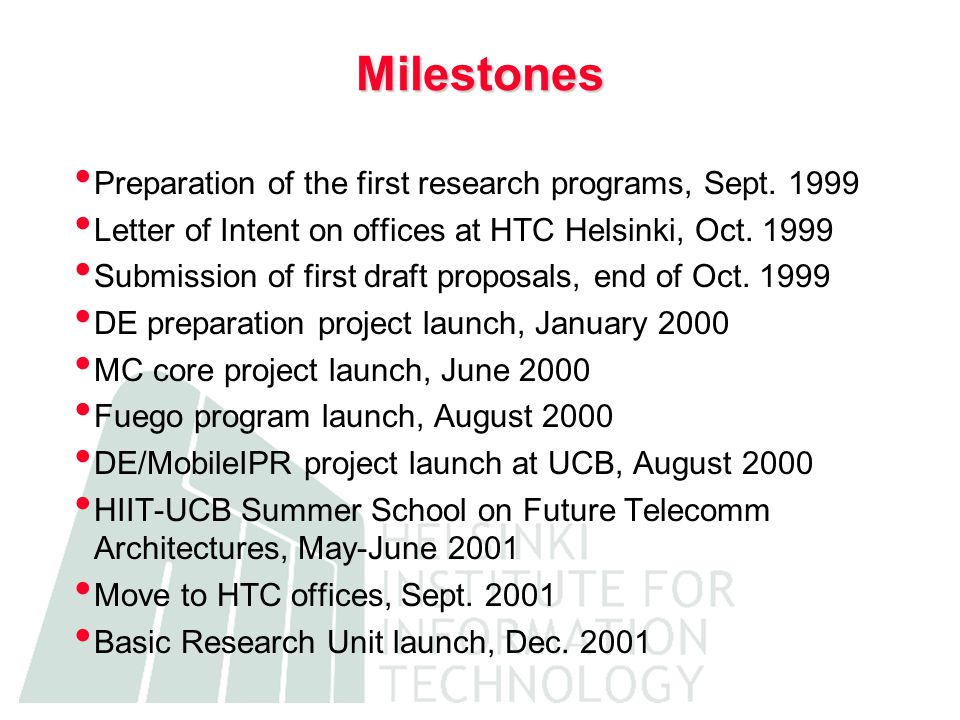 Milestones Preparation of the first research programs, Sept.