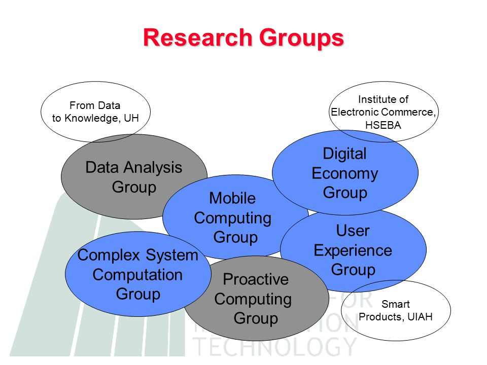 Research Groups Data Analysis Group Mobile Computing Group User Experience Group From Data to Knowledge, UH Proactive Computing Group Complex System Computation Group Digital Economy Group Institute of Electronic Commerce, HSEBA Smart Products, UIAH