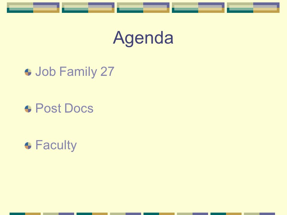 Agenda Job Family 27 Post Docs Faculty