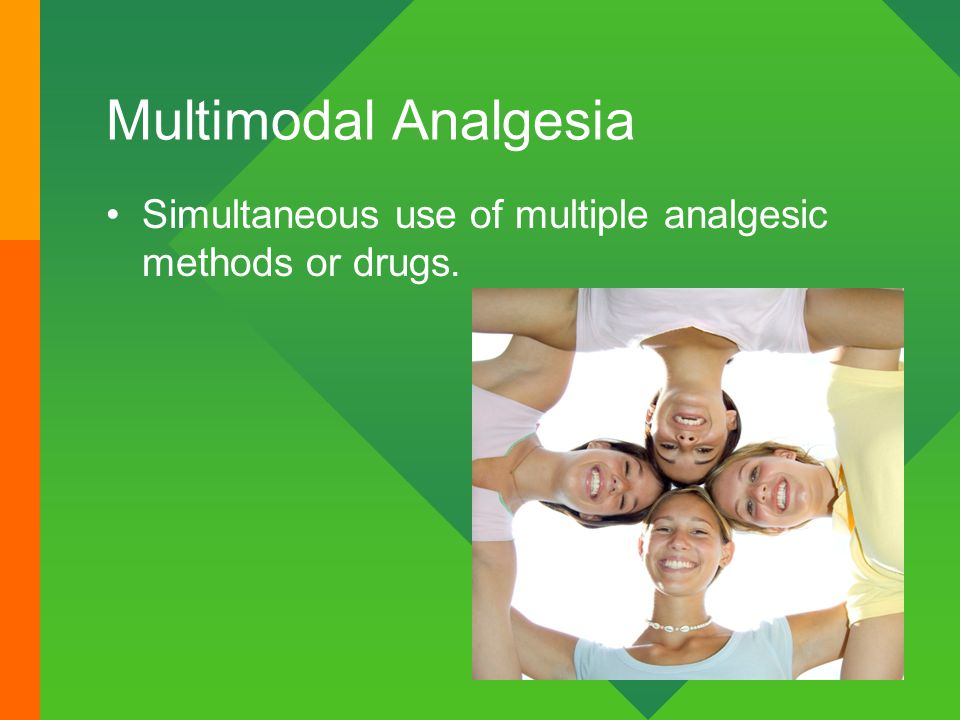Multimodal Analgesia Simultaneous use of multiple analgesic methods or drugs.