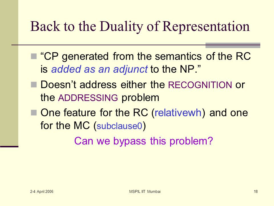 2-4 April 2006 MSPIL IIT Mumbai18 Back to the Duality of Representation CP generated from the semantics of the RC is added as an adjunct to the NP. Doesn't address either the RECOGNITION or the ADDRESSING problem One feature for the RC (relativewh) and one for the MC ( subclause0 ) Can we bypass this problem?