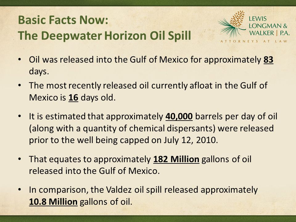 Basic Facts Now: The Deepwater Horizon Oil Spill Oil was released into the Gulf of Mexico for approximately 83 days. The most recently released oil cu