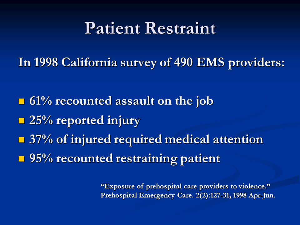 Patient Restraint In 1998 California survey of 490 EMS providers: 61% recounted assault on the job 61% recounted assault on the job 25% reported injury 25% reported injury 37% of injured required medical attention 37% of injured required medical attention 95% recounted restraining patient 95% recounted restraining patient Exposure of prehospital care providers to violence. Prehospital Emergency Care.