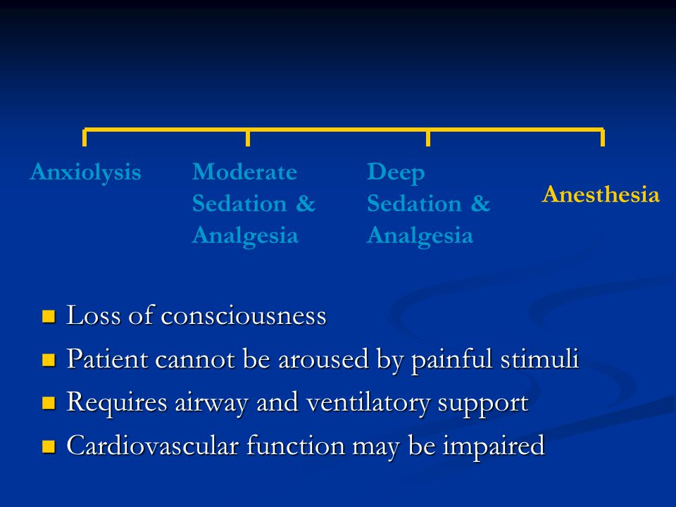 Summary Sedation is a dynamic spectrum Sedation is a dynamic spectrum Main EMS uses: Main EMS uses: Procedures Procedures Restraint Restraint Primary Treatment Primary Treatment Pain management adjunct Pain management adjunct